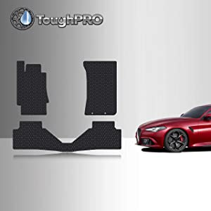 TOUGHPRO Floor Mat Accessories Set Compatible with Alfa Romeo Giulia - RWD - All Weather - Heavy Duty - Custom Fit - (Made in USA) - Black Rubber - 2017, 2018, 2019, 2020