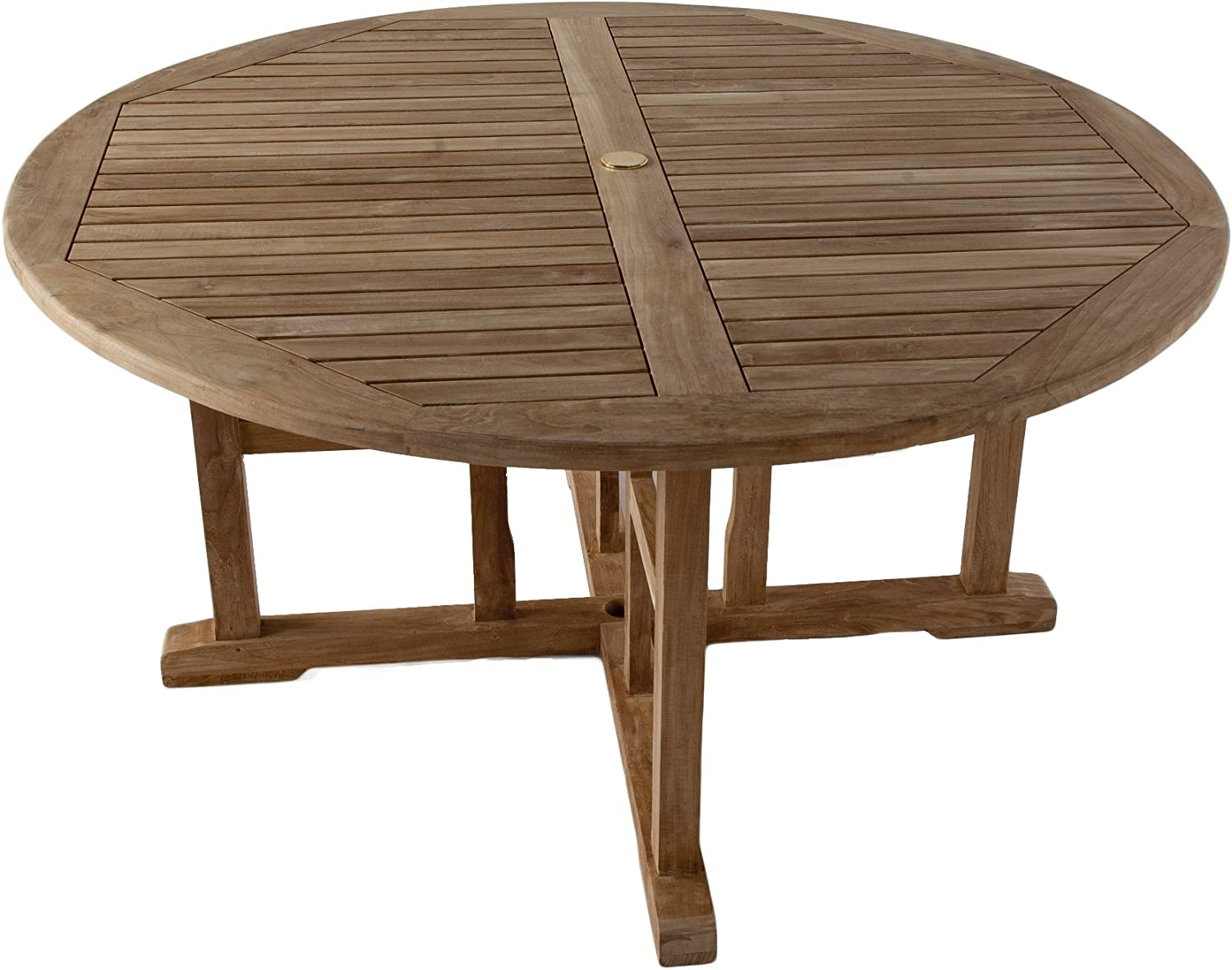 Madison Grade A Teak Wooden Round Dining Table - 8.8m Wood Garden Table