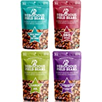 Ferocious Beans - 4 Pack Variety | Spicy BBQ, Cinnamon Sugar, Sea Salt, Garlic Flavored | Crunchy Roasted Field Beans | Source of Plant Protein | Gourmet Fava Bean | Vegan, Paleo, Keto, Low Fat Diets | Snack Food Kids Love