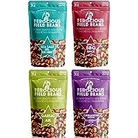 Ferocious Beans - 4 Pack Variety | Spicy BBQ, Cinnamon Sugar, Sea Salt, Garlic Flavored | Crunchy Roasted Field Beans | Source of Plant Protein | Gourmet Fava Bean | Vegan, Gluten Free, Paleo, Keto, Low Fat Diets | Snack Food Kids Love