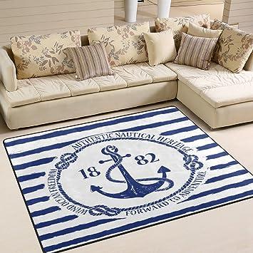 Amazon Com Alaza Blue White Nautical Anchor On Striped Area Rug