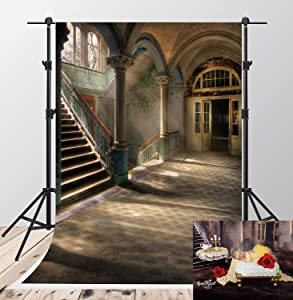 Kate Microfiber Castle Photography Backdrops 5x7ft Indoor Vintage Stairs Photo Background Interior Holiday Party Decoration Backgrounds Princess Baby Shower Newborn Photoshoot Backdrops