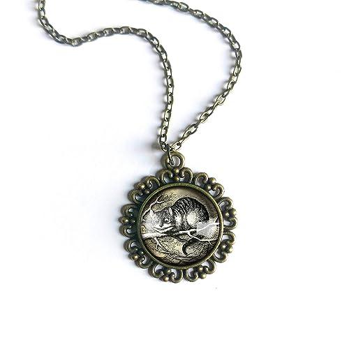 Cat Necklace Accessory Unique Jewelry Moon Night Nature Pendant Cheshire