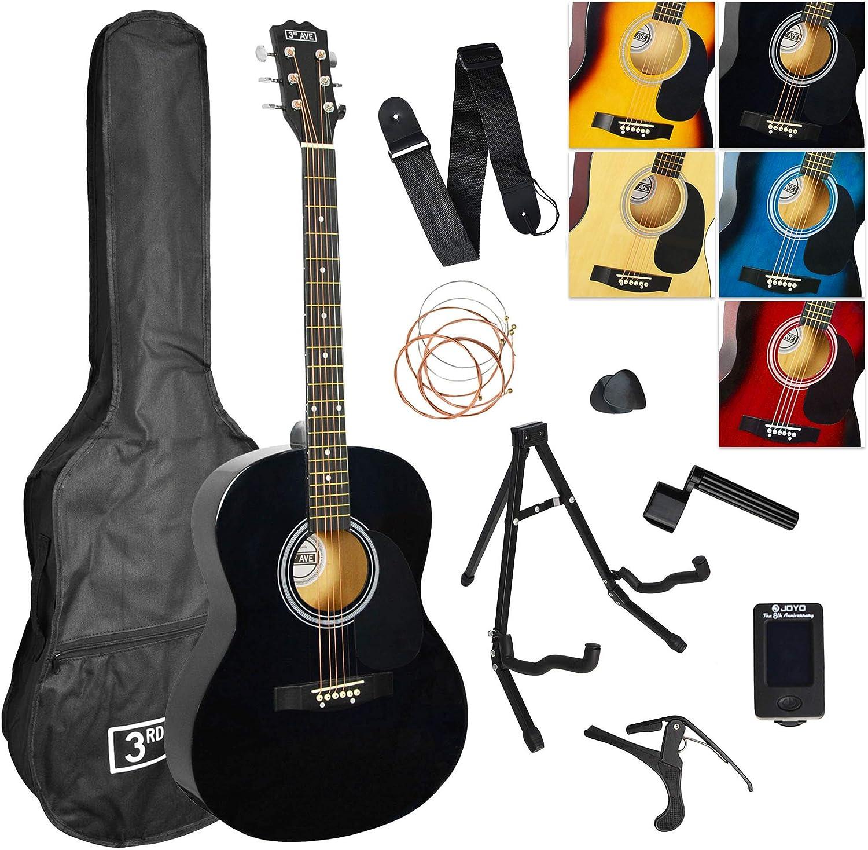 3rd Avenue STX10ABKPK2 Paquete Premium de Guitarra Acústica, Negro ...