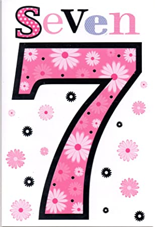 Childrens Birthday Card For Seven 7 Year Old Girl