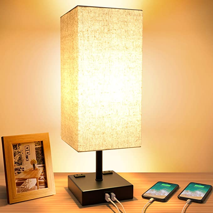 Touch Table Lamp 3 Way Dimmable Touch Lamp Bedside Lamp With 2 Usb Charging Ports And 2 Ac Outlets Modern Desk Lamp Nightstand Bedroom Lamp For Bedroom Living Room Reading Office Led Bulb Included Home Kitchen