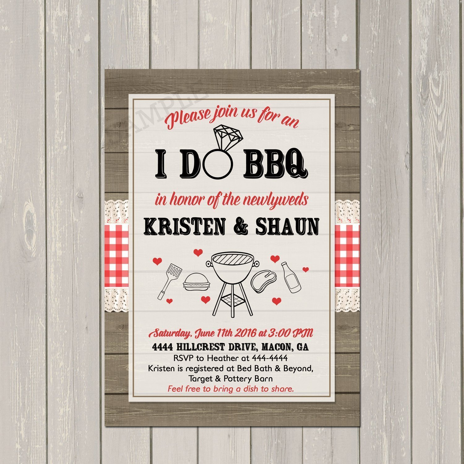 I Do BBQ Invitation, Couples Wedding Shower Barbecue Invitation, Engagement Party BBQ Invite, Rustic Wedding Shower Invitation