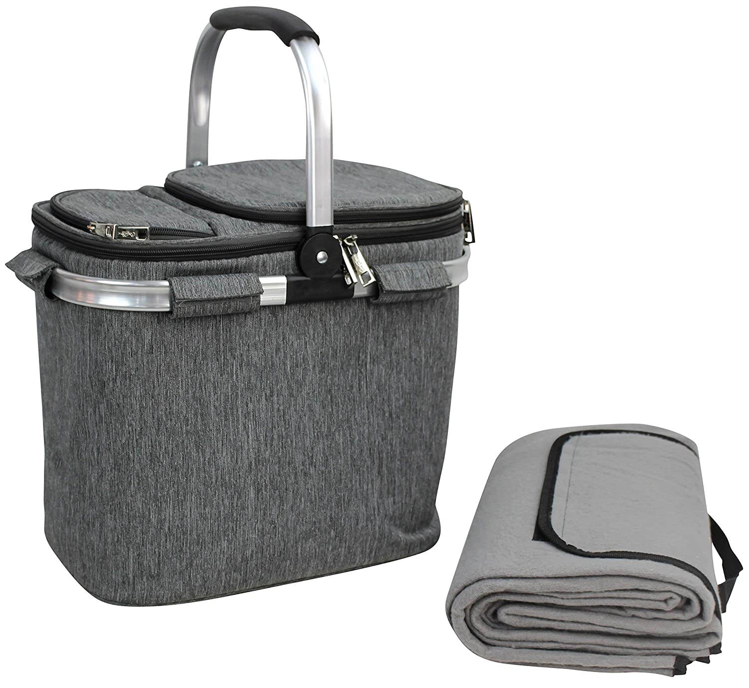 Picnic Basket Beautiful Design Insulated Tote Bag Kit Insulated Lunch Tote for Women /& Men Picnic Heavy Duty Aluminum Frame and Handle Collapsible Cooler Keeps Drinks Cool Wine Picnic Set