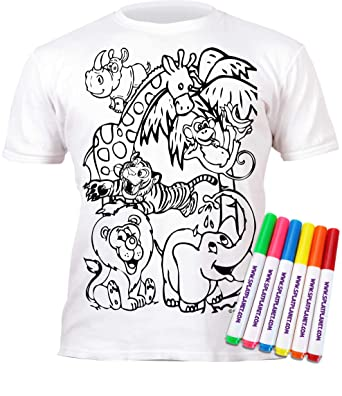 Splat Planet Colour in Zoo T-Shirt with 6 Non-Toxic Washable Magic Pens