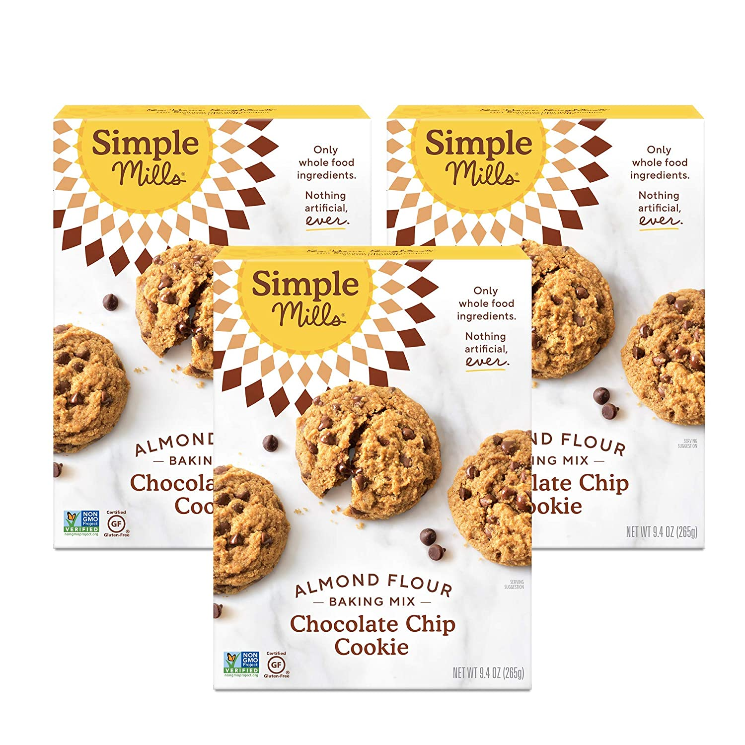 Simple Mills Almond Flour Baking Mix, Gluten Free Chocolate Chip Cookie Dough Mix, Made with whole foods, 3 Count (Packaging May Vary)
