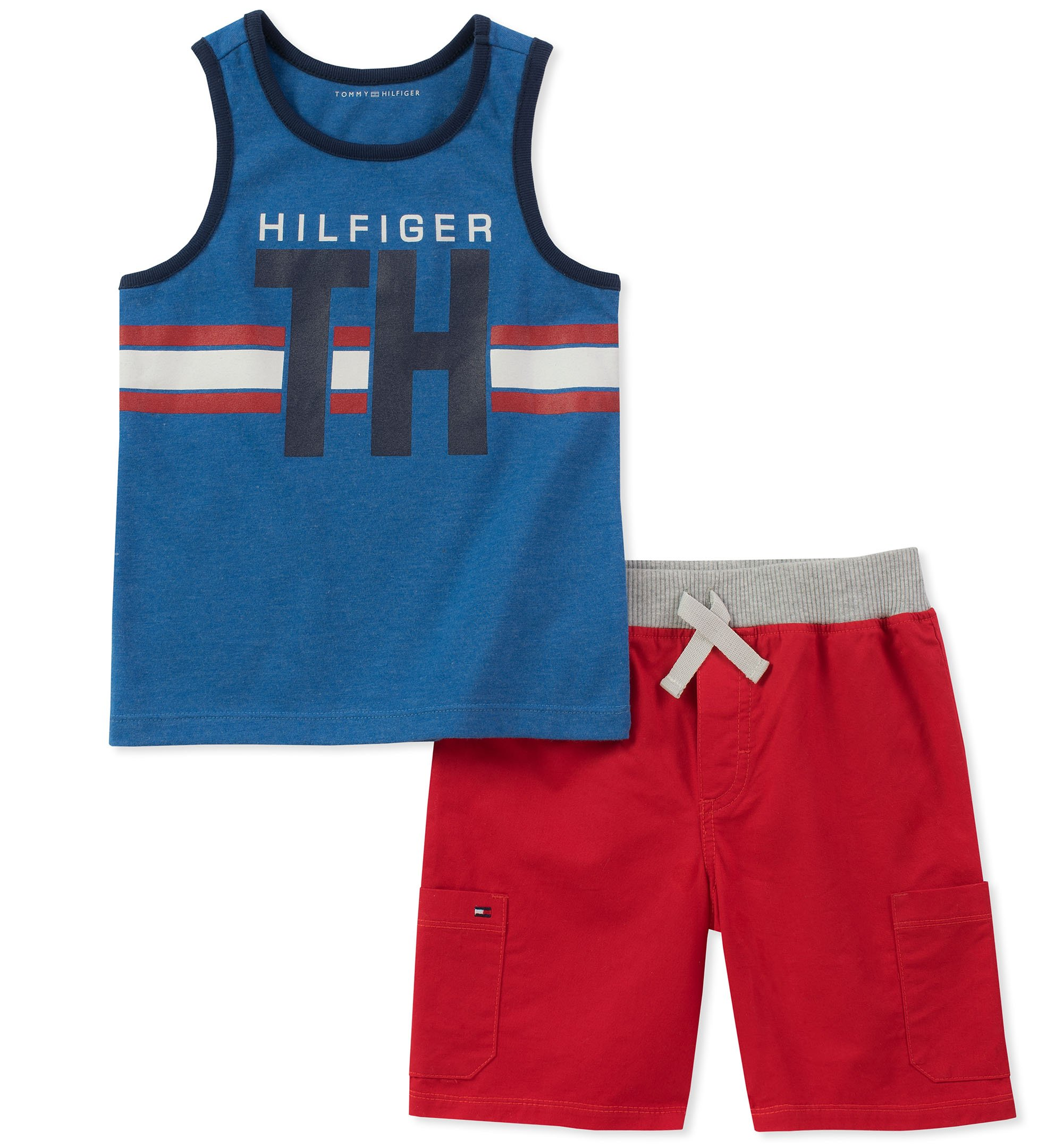 Tommy Hilfiger Boys' Toddler 2 Pieces Tank Shorts Set, Blue/red, 3T