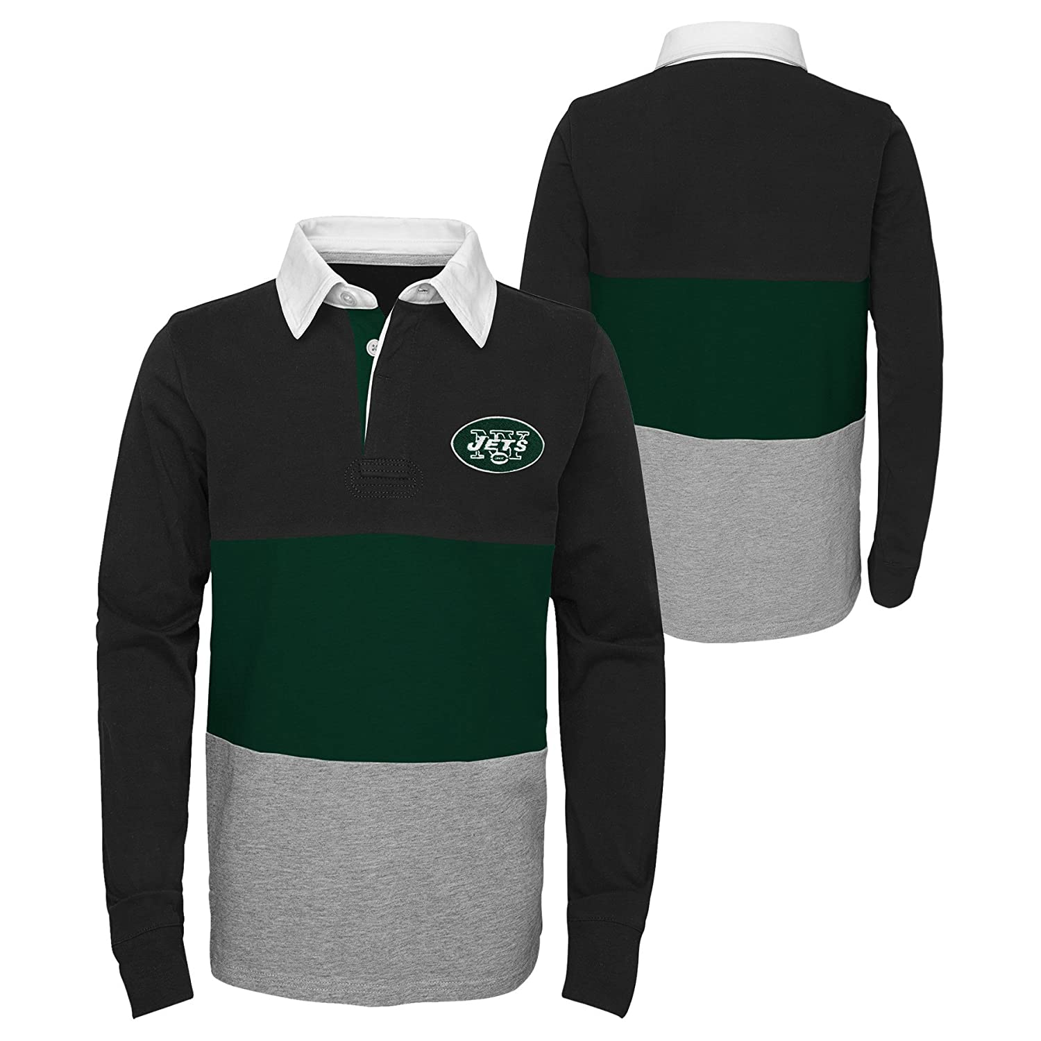 10-12 Outerstuff NFL New York Jets Youth Boys State of Mind Long Sleeve Rugby Top Black Youth Medium