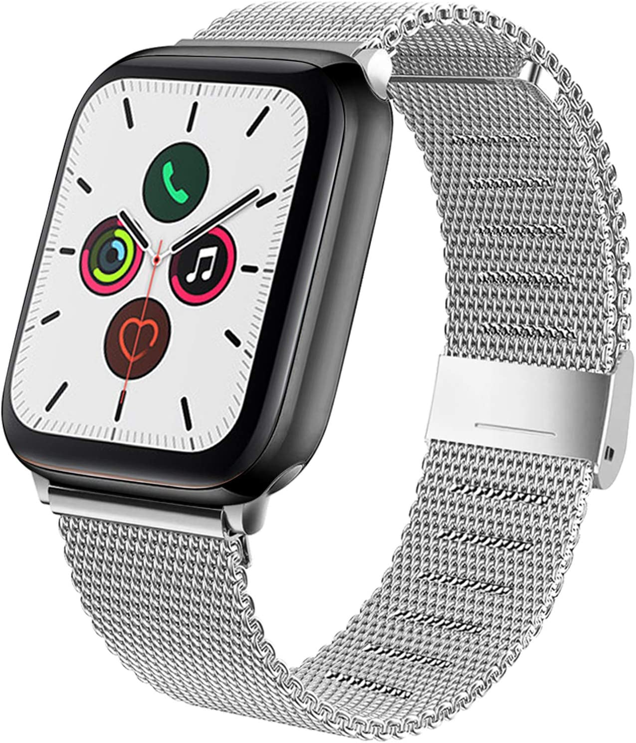 YILED Compatible with Apple Watch Band 44mm 42mm 40mm 38mm, Adjustable Stainless Steel Mesh Replacement Wristband Sport Loop Band for iWatch Series 5 4 3 2 1 (Silver, 38mm/40mm)
