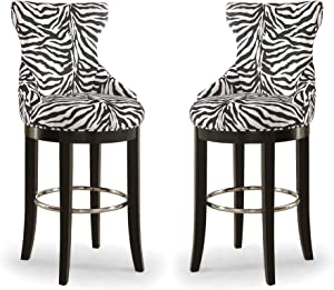 Wholesale Interiors Peace Zebra-Print Patterned Fabric Upholstered Bar Stool with Metal Footrest, White/Dark Brown