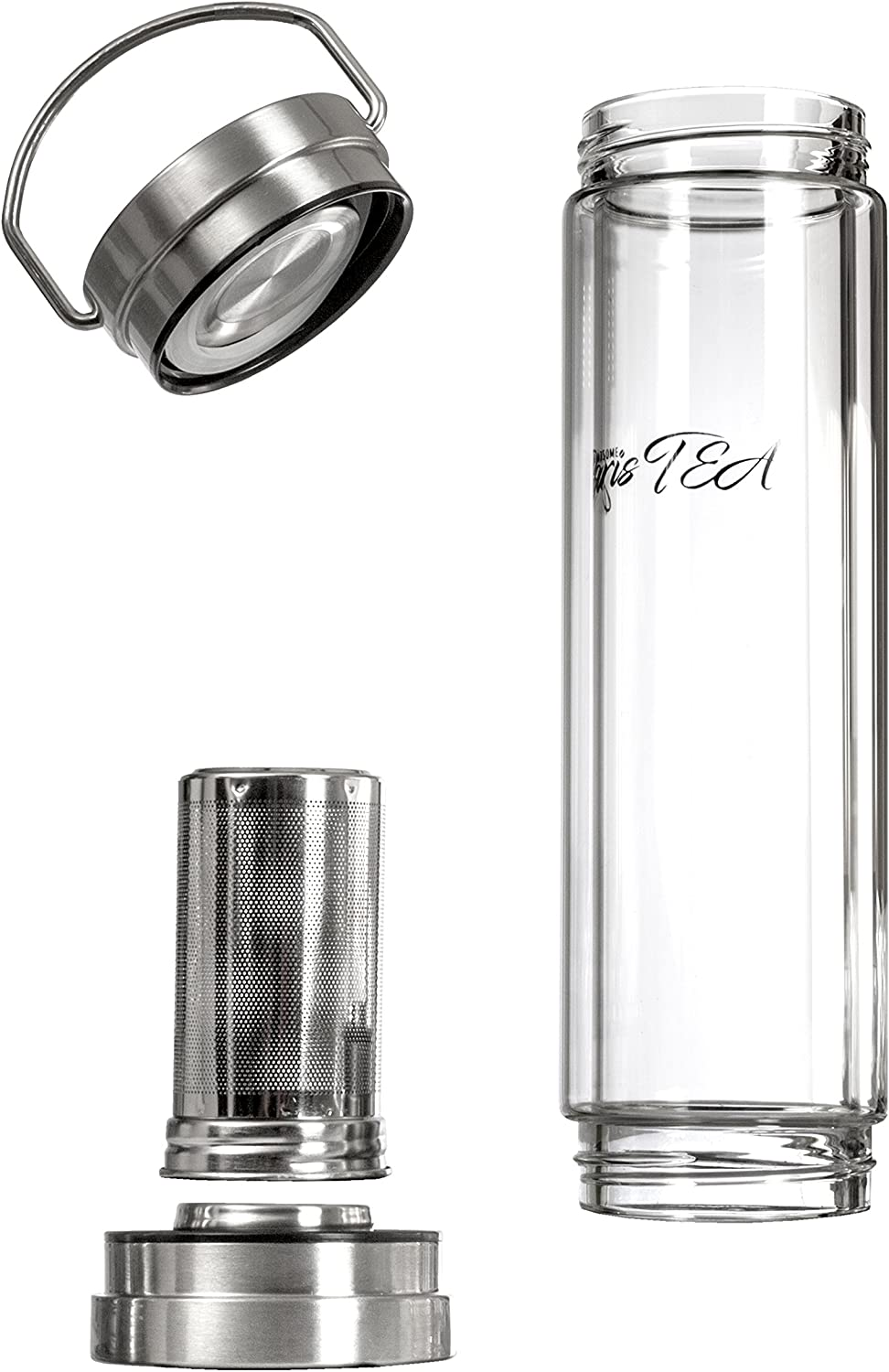 Top and Bottom Lids Handsome BarisTEA Versatile Luxury Bottle Borosilicate Glass 400ml Tea Maker Durable 304 Stainless Steel Removable Infuser BPA Free Double Wall Detox Bottle