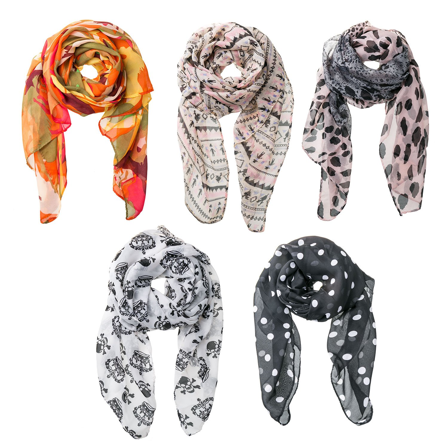 Bundle Monster 5PC Womens Fashion Scarf Set - Soft & Silky, Made w/100% Polyester - Lightweight, Versatile Designs