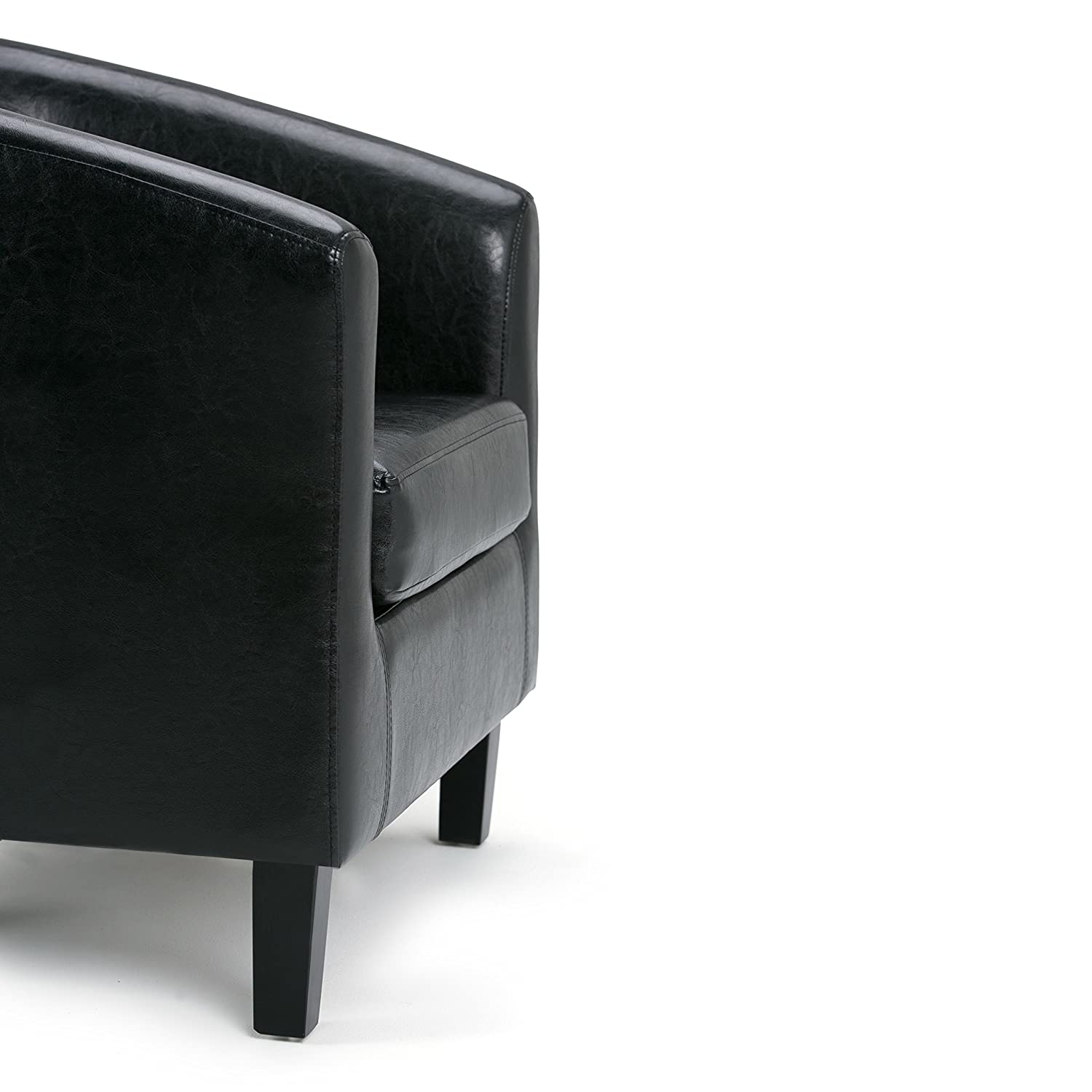 Simpli Home AXCTUB-002 Austin 30 inch Wide Transitional Tub Chair in Black Faux Leather