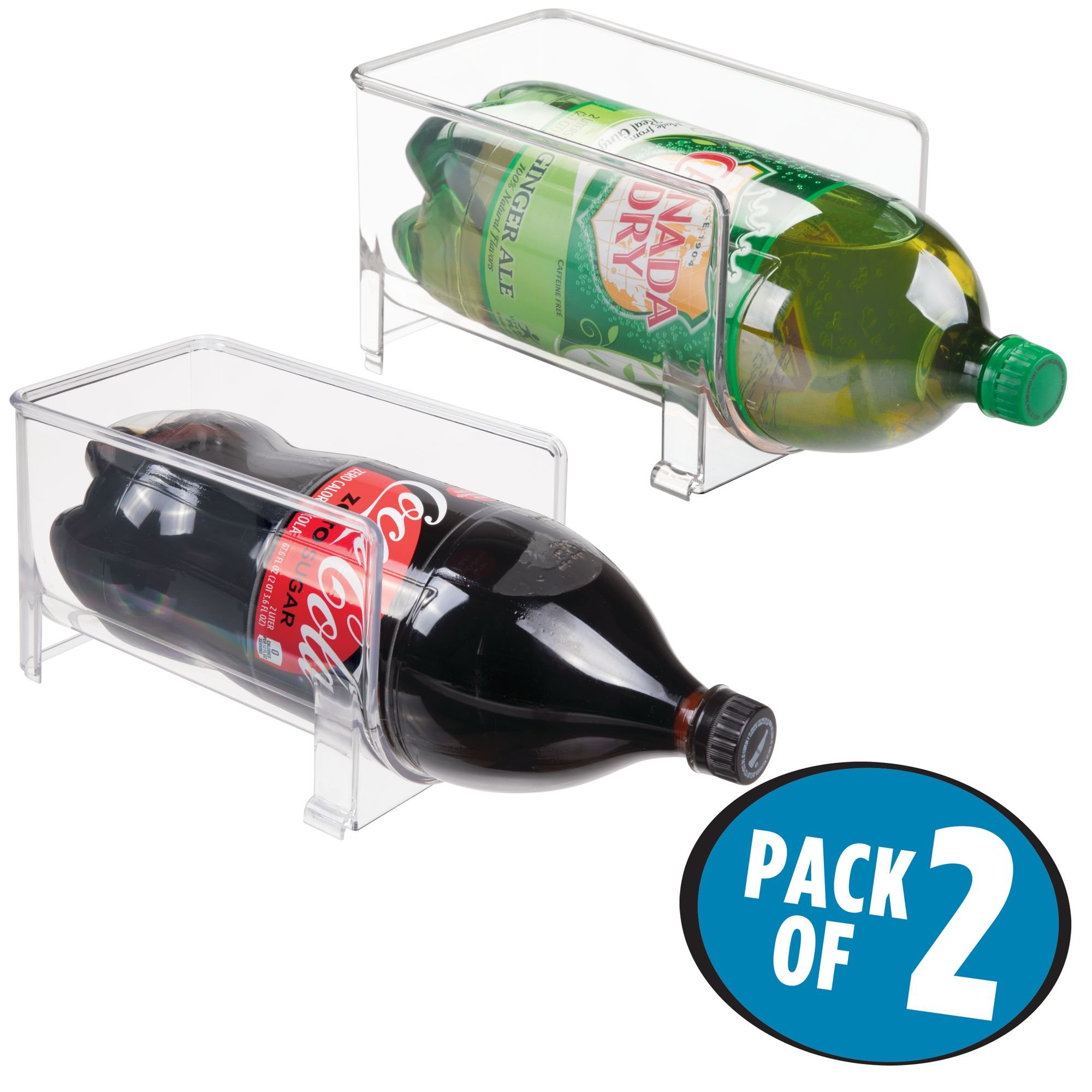 mDesign Large Stackable Kitchen Bin Storage Organizer Rack for Pop/Soda Bottles for Refrigerator, Pantry, Countertops and Cabinets - Holds 2-Liter Bottles - BPA Free, Pack of 2, Clear