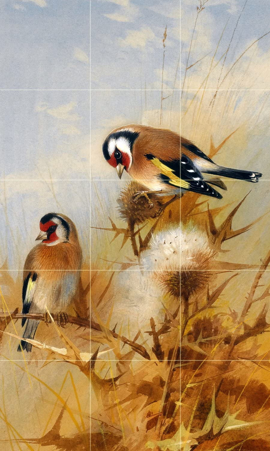 "Tile Mural Bullfinches by Archibald Thorburn Birds Sky Grass Seeds bur Kitchen Bathroom Shower Wall Backsplash Splashback 3x5 4.25"" Ceramic, Matte 81s2BDHYqTSLSL1500_"