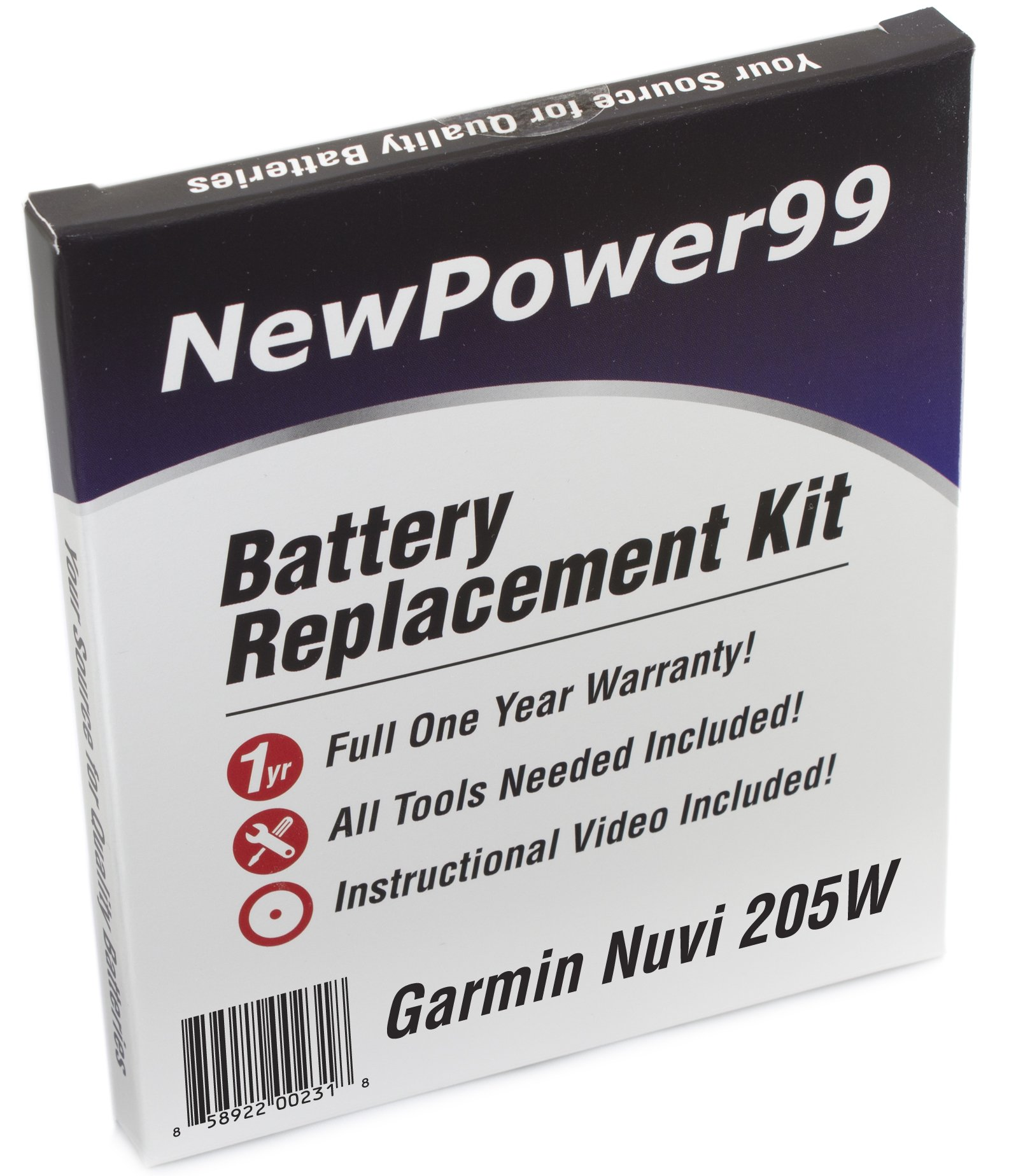 Battery Replacement Kit for Garmin Nuvi 205W with Installation Video, Tools, and Extended Life Battery.