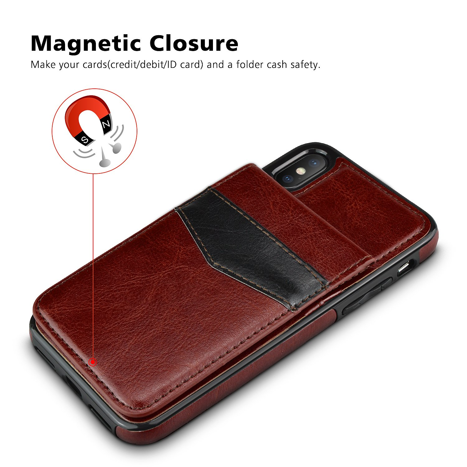 iPhone X Case, iPhone X Card Holder Case, LuckyBaby Premium Leather Folio Flip iPhone X Wallet Case with Credit Card Slots Shock-Absorbing Protective Case for iPhone X / iPhone 10 (2017) - Brown by LuckyBaby (Image #6)
