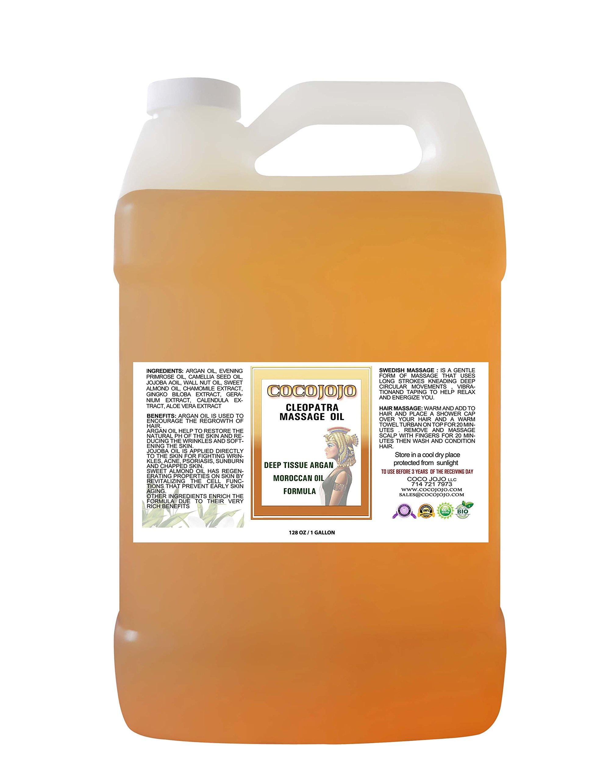 Cocojojo Deep Tissue 1 Gallon Argan Moroccan Oil in Natural Massage with Jojoba and Sweet Almond Oil 100%