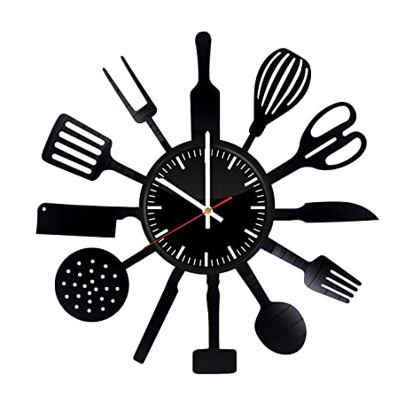 Cutlery Vinyl Record Wall Clock - Tableware Handmade Present - Wall Art Room Decor Handmade Decoration