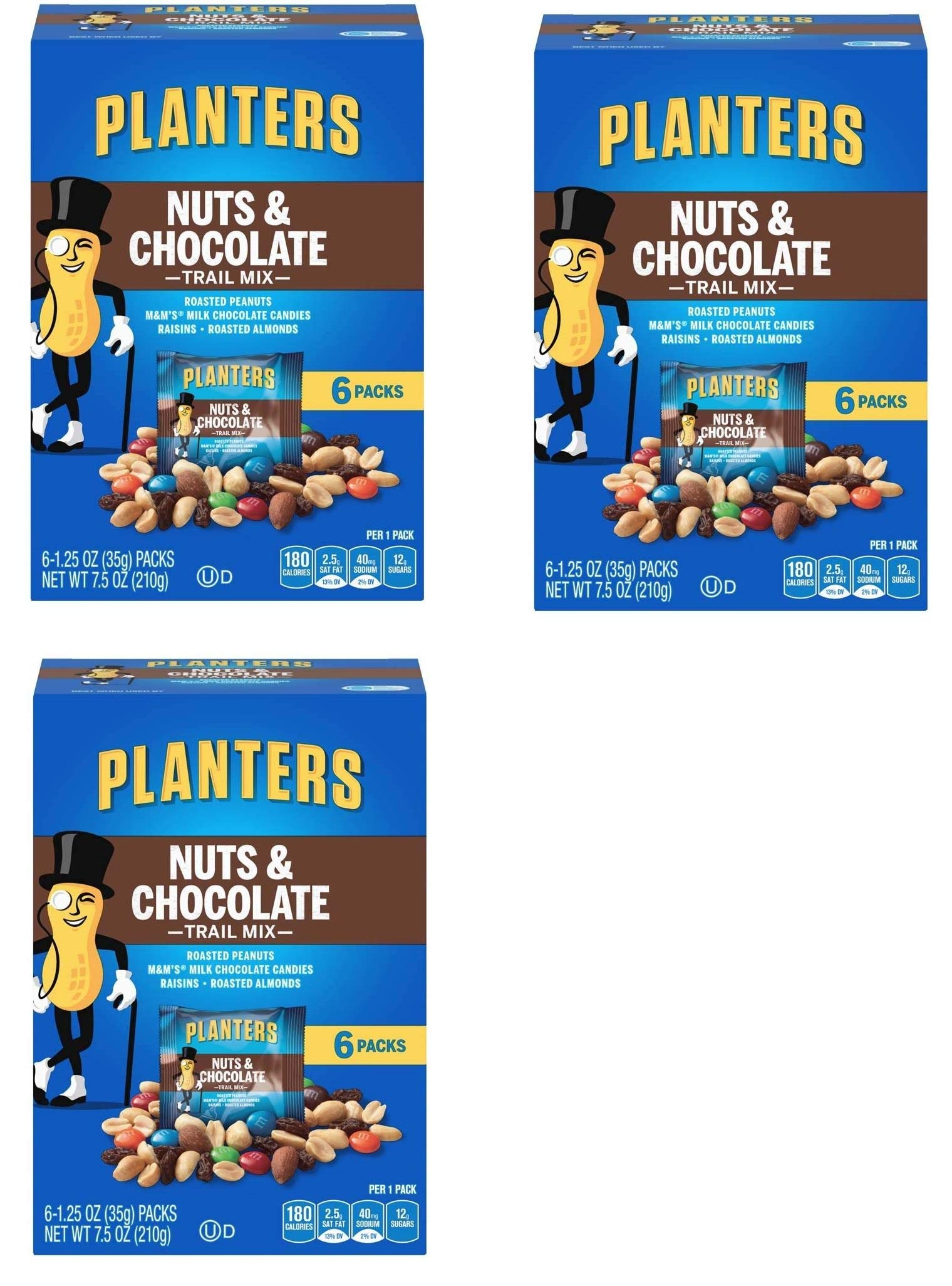 Planters Trail Mix, Nuts and Chocolate MandMs, 7.5 Ounce Box each, 18 Bags Total