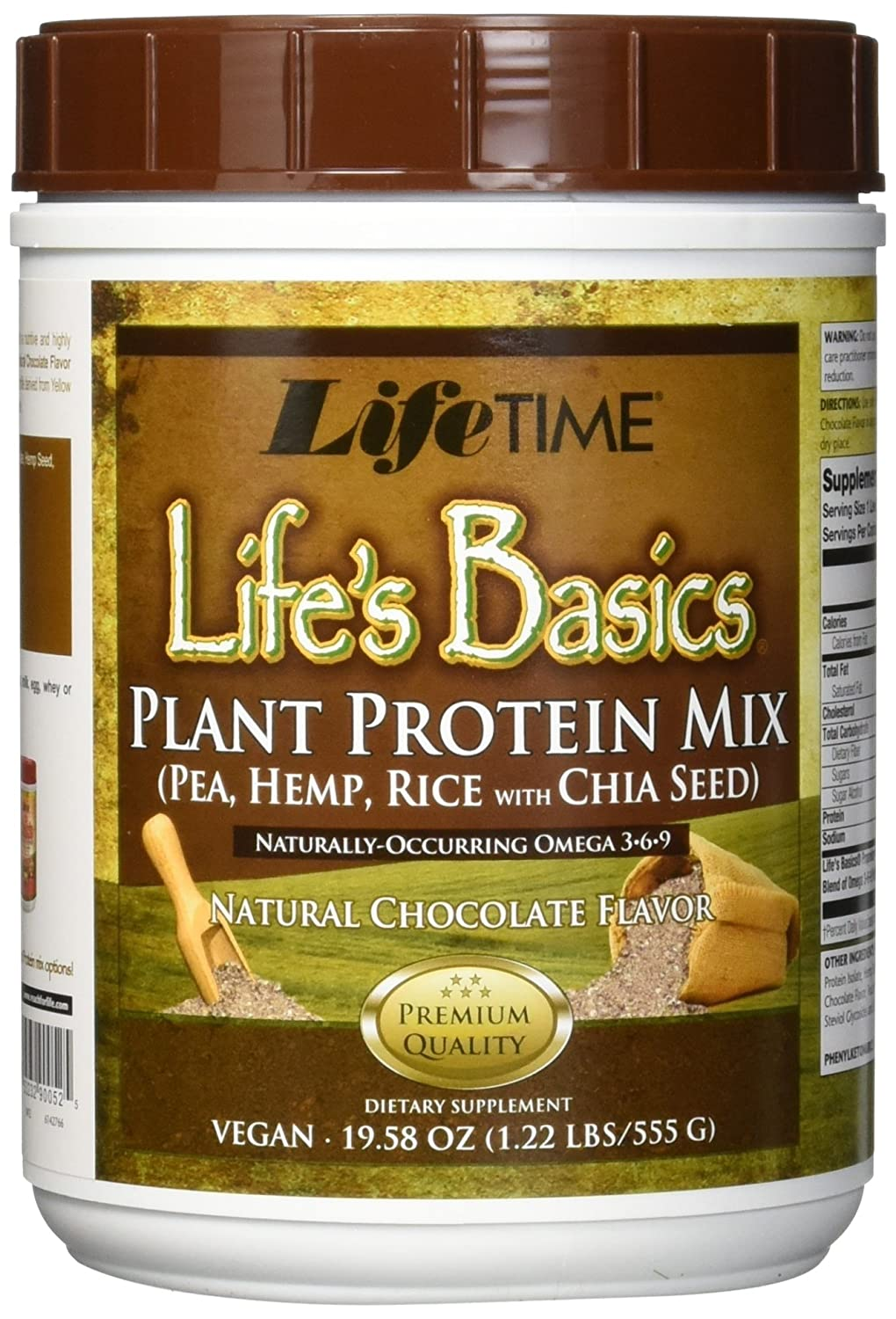 Amazon.com: Lifetime Life\'s Basics Plant Protein Chocolate, 1.22 ...