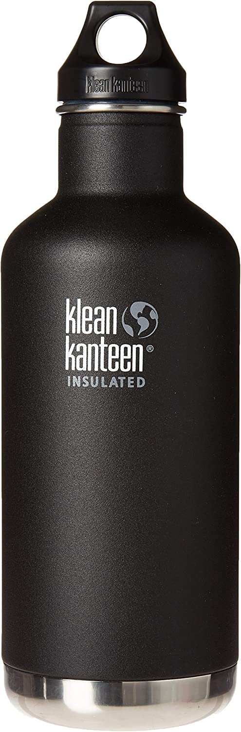 Klean Kanteen Classic Insulated Stainless Steel Water Bottle with Klean Coat and Leak Proof Loop Cap - 32oz - Shale Black