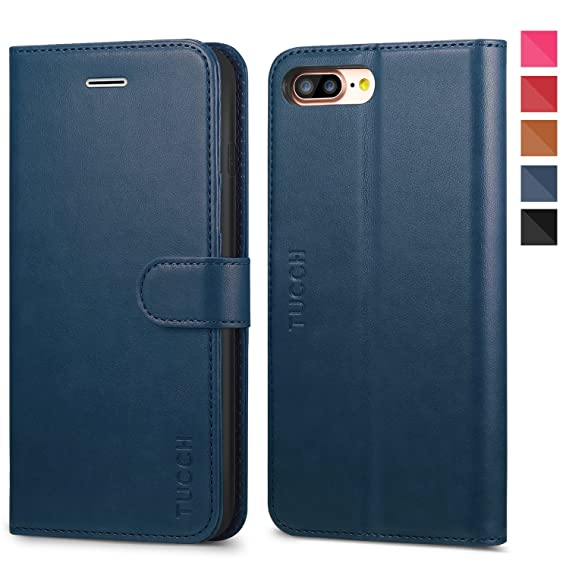 more photos dd05d 8ec02 iPhone 8 Plus Leather Case, iPhone 7 Plus Case, TUCCH 3 Credit Card Holders  and 1 Money Slot Wallet Case with Kickstand, Folio Flip Cover [TPU ...