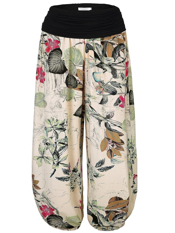 BAISHENGGT Womens Floral Print Elastic Waist Harem Pants