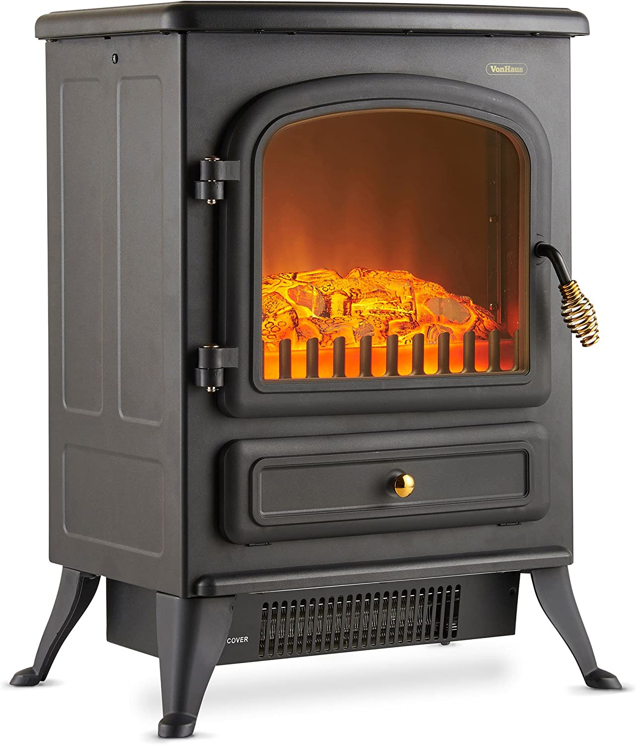 Vonhaus Electric Stove Heater With Log Burner Flame Effect 1850w Black Freestanding Fireplace With Wood Burning Led Light Amazon Co Uk Diy Tools