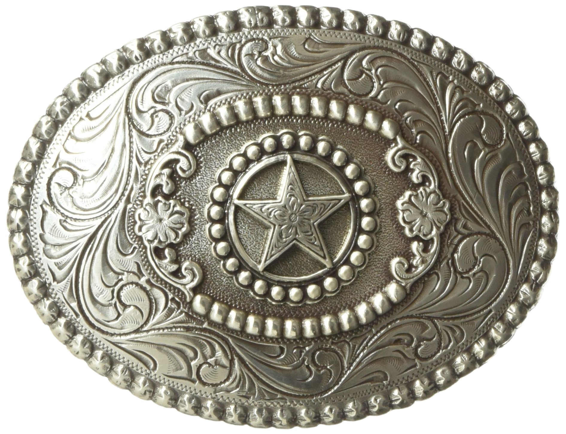 Nocona Men's Small Star Buckle, Silver, One Size