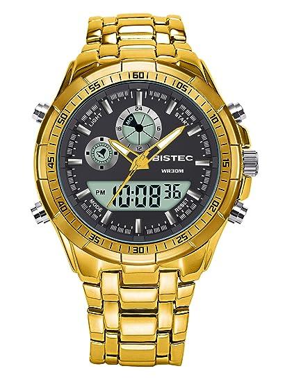 BISTEC - Reloj digital analógico hombre acero inoxidable con Mode Sport, pulsera dorada: Amazon.es: Relojes