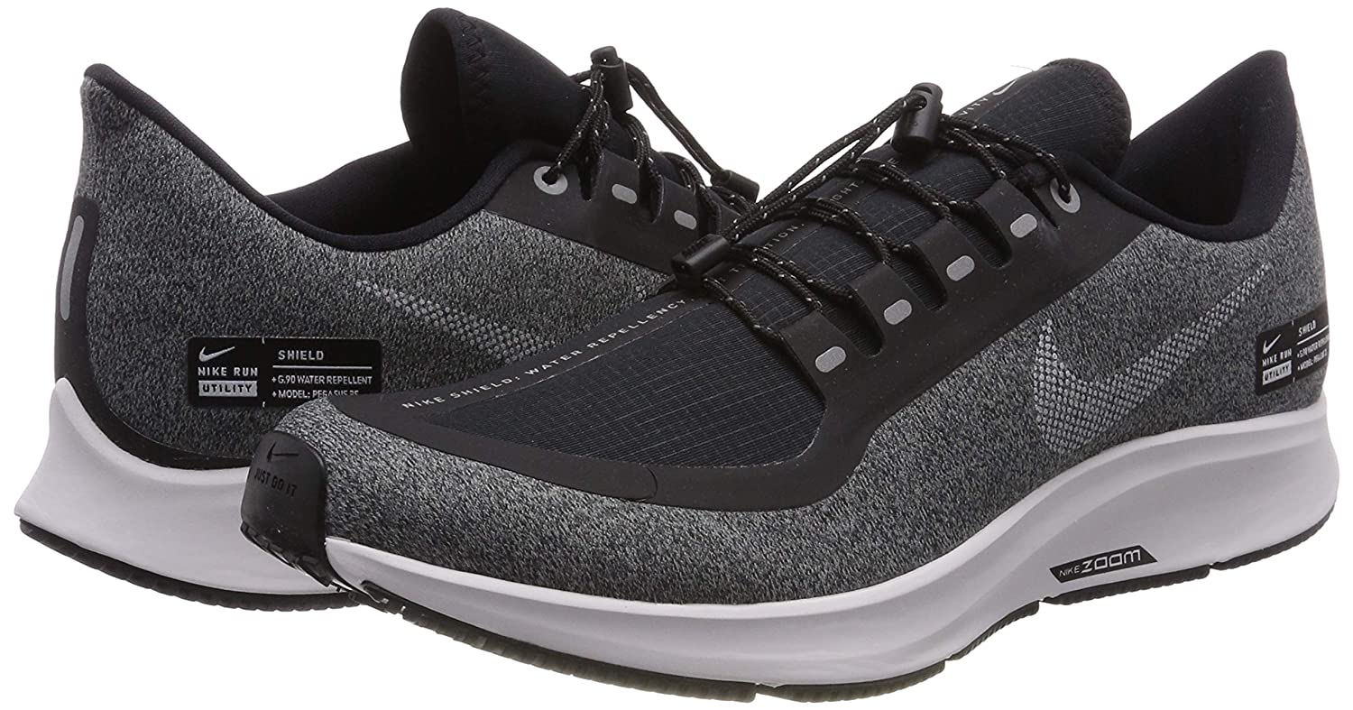 Nike Air Zoom Pegasus 35 Shield Womens Running Shoe Black/White-Cool Grey-VAST Grey 7.0 Women's