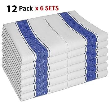 SMARTZTM Juego de 12 toallas de té vintage (6 unidades, 100% algodón, 70 x 50 cm), color blanco con rayas azules: Amazon.es: Hogar