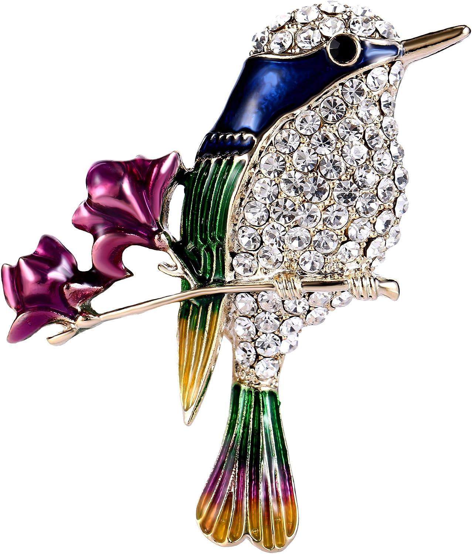 Birds 5 on a Branch Bough Goldtone Brooch  Metal Enamel Rhinestones Ideal  Gift