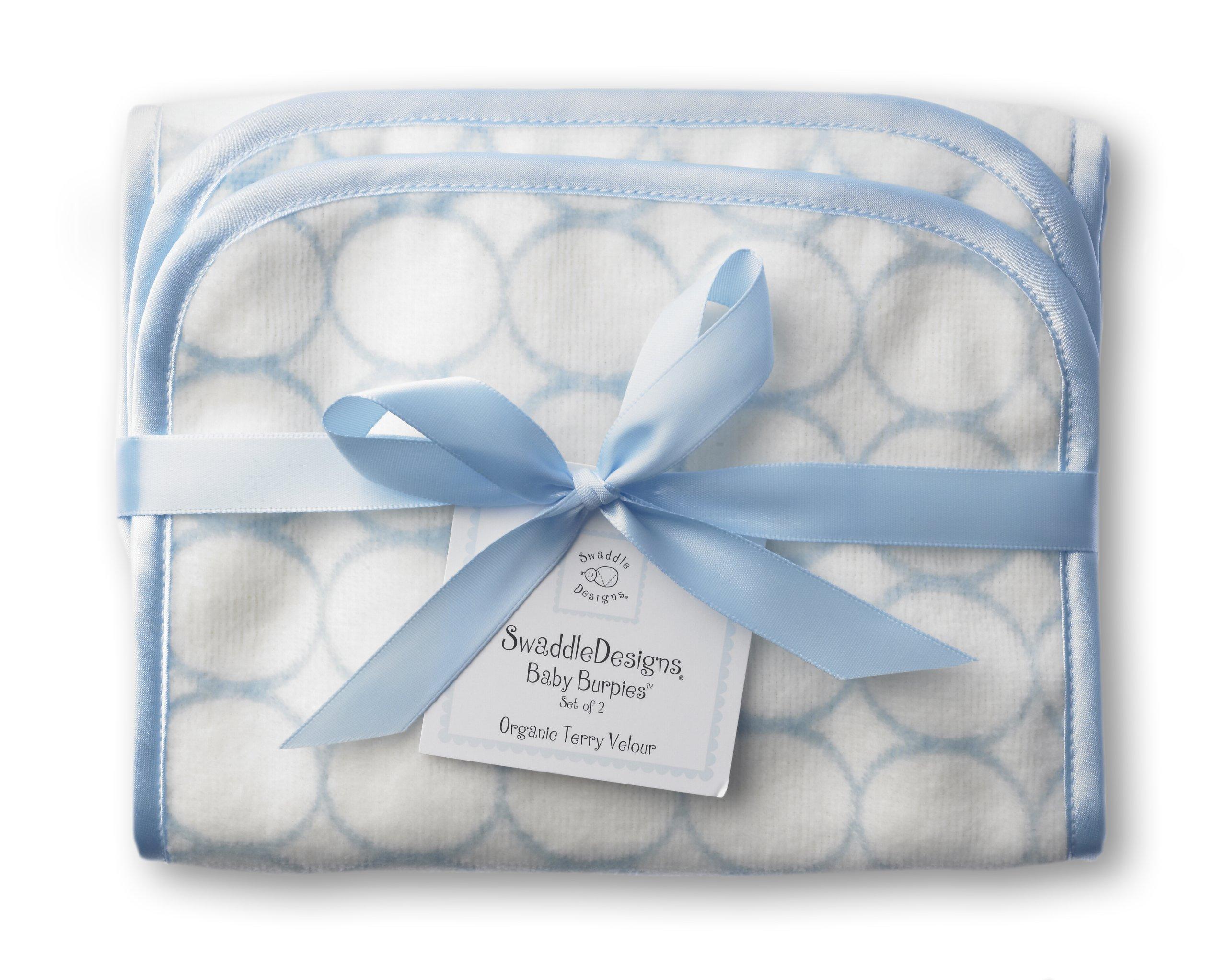 SwaddleDesigns Organic Cotton Terry Velour Baby Burpies, Set of 2 Cotton Burp Cloths, Pastel Blue Mod Circles
