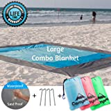 PREMIUM Outdoor Beach Blanket Sand Free/Picnic Blanket Waterproof And Sand Mat Combined - large Sand Proof Fast Dry Strong Nylon 7.2' X 6.6' 4 Metal Stacks