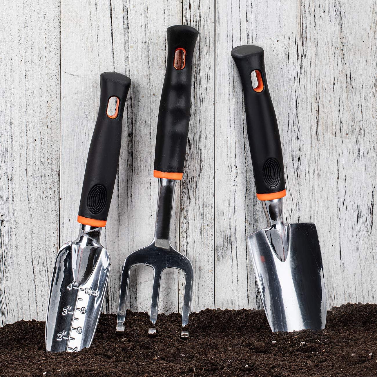 COSYLAND Garden Tool Set Gardening Kit Includes Cultivator 3 Piece Garden Hand Shovels Aluminum Alloy Garden Trowels with Ergonomic Rubberized Non-Slip Grip Hand Trowel and Transplant Trowel