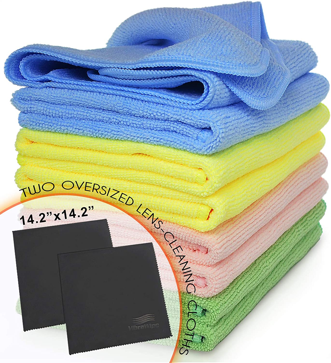 VibraWipe Microfiber Cleaning Cloths 5-Color Pack, 8 Pieces of All-Purpose Cloths, 2 Pieces of Lense Cloths. Trap Dust and Dirt for a Cleaner Home - Machine Washable, Reusable and Lint-Free