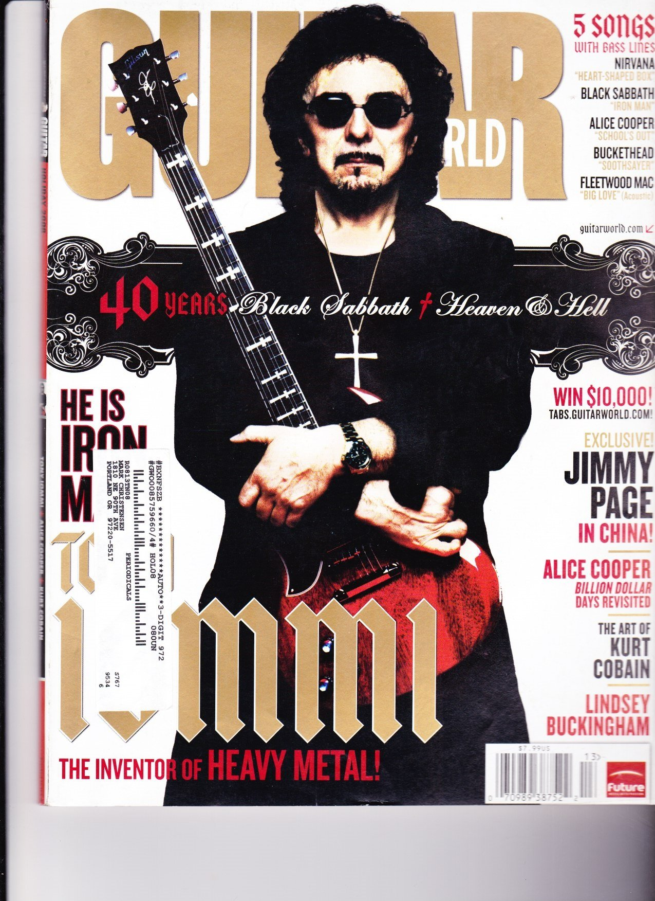 Download TONY IOMMI BLACK SABBATH GUITAR WORLD HOLIDAY 2008 5 SONGS WITH BASS LINES NIRVANA ALICE COOPER AND MORE! ebook