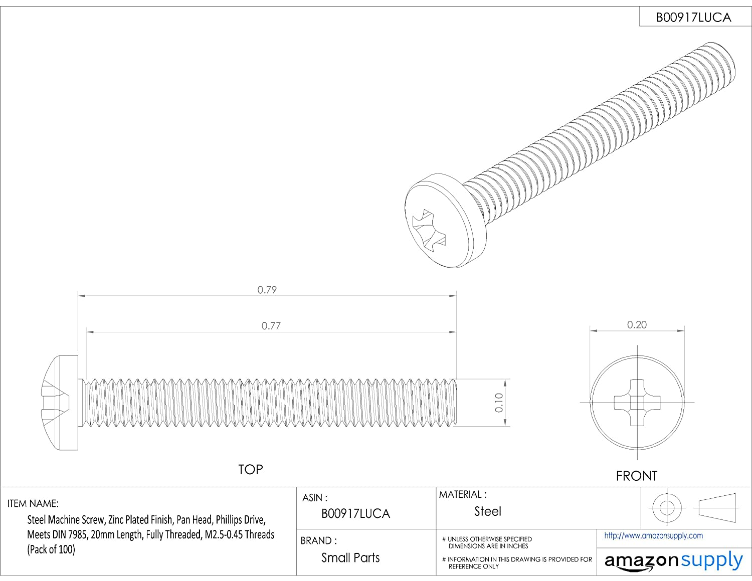 Phillips Drive Steel Machine Screw M2.5-0.45 Metric Coarse Threads Small Parts B00917LUCA 20mm Length Pack of 100 Fully Threaded Zinc Plated Finish Meets DIN 7985 Pan Head