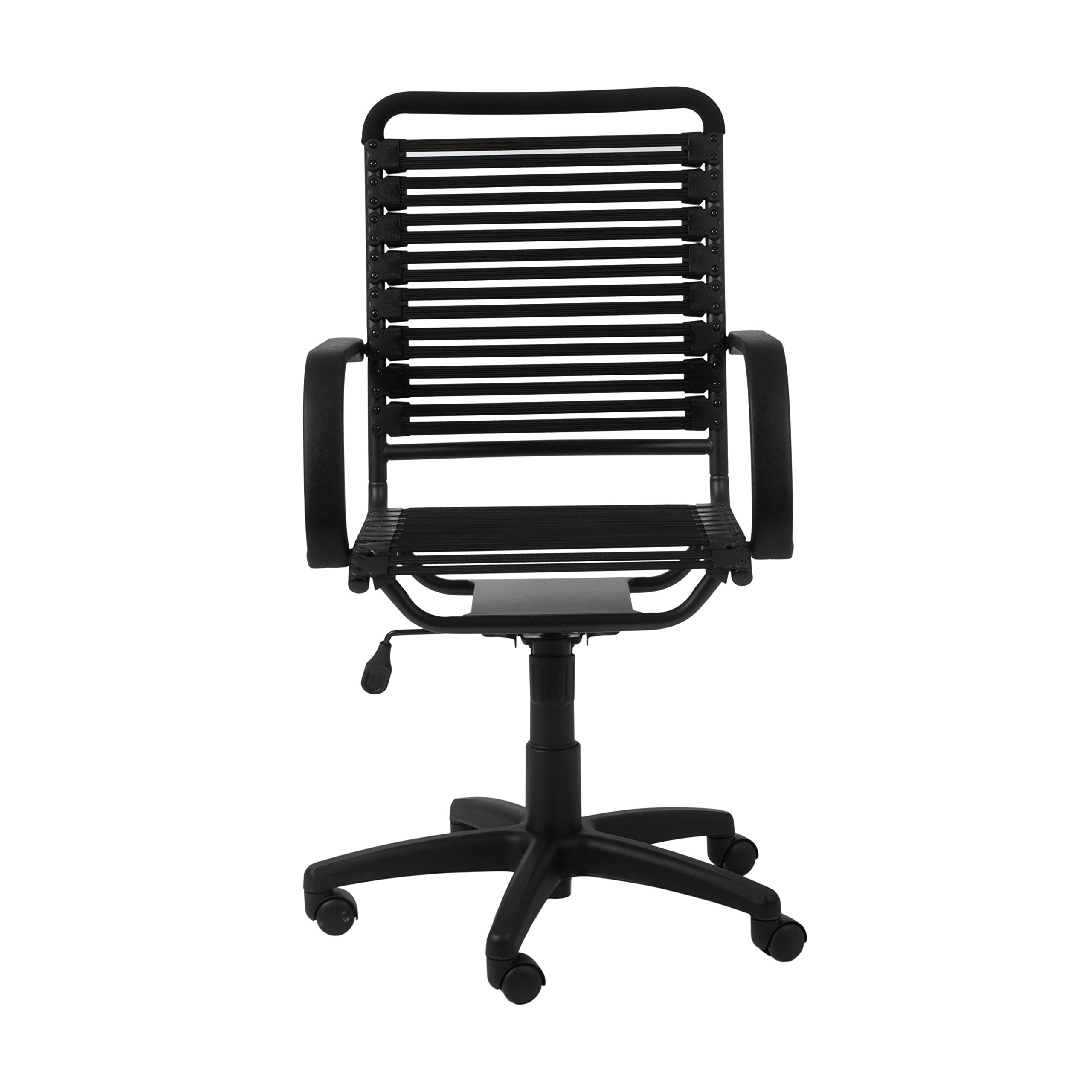 Euro Style Flat Bungie High Back Adjustable Office Chair with Arms, Black Bungies with Graphite Black Frame by Eurø Style