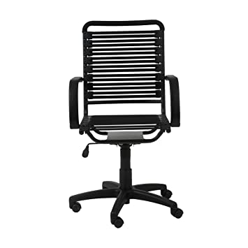 Euro Style Flat Bungie High Back Adjustable Office Chair With Arms, Black  Bungies With Graphite