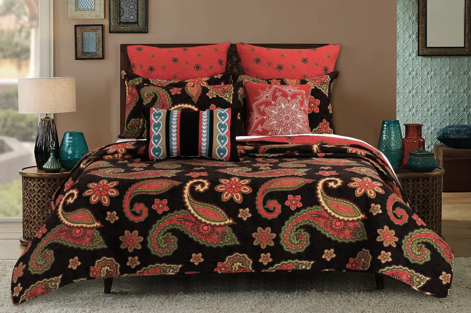 Vintage Retro Paisley Medallion Pattern Print Bedding Orange Yellow Charcoal Luxury Reversible 3 Piece Cotton Quilt Set with Shams King Size Size - Includes Bed Sheet Straps by Finely Stitched (Image #2)