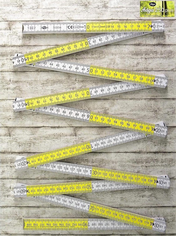 Adga Meterstab 2m Holz Winkel/übersicht 90 180 Grad Rastung gerade Anrei/ßkante weiss gelbe Dezimeterfelder 4 Stk