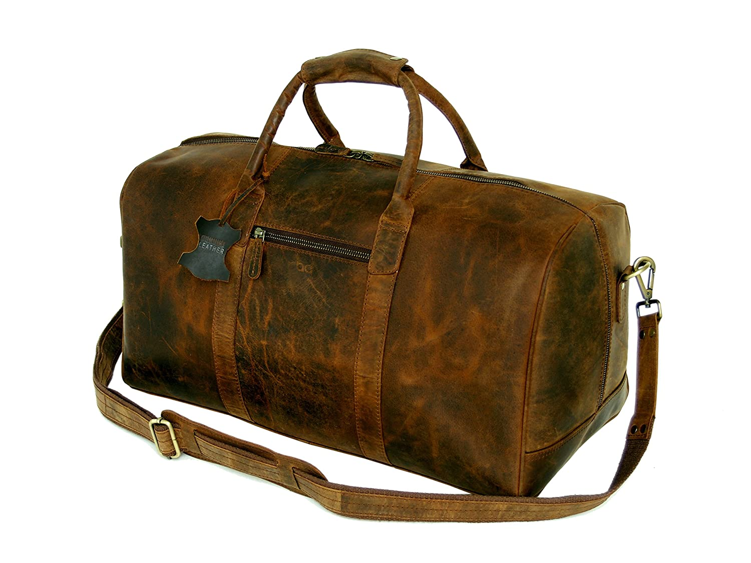 Basic Gear Full Grain Leather Weekender Travel Bag, Overnight Carry-on Luggage Leather Bag, Gym Duffel