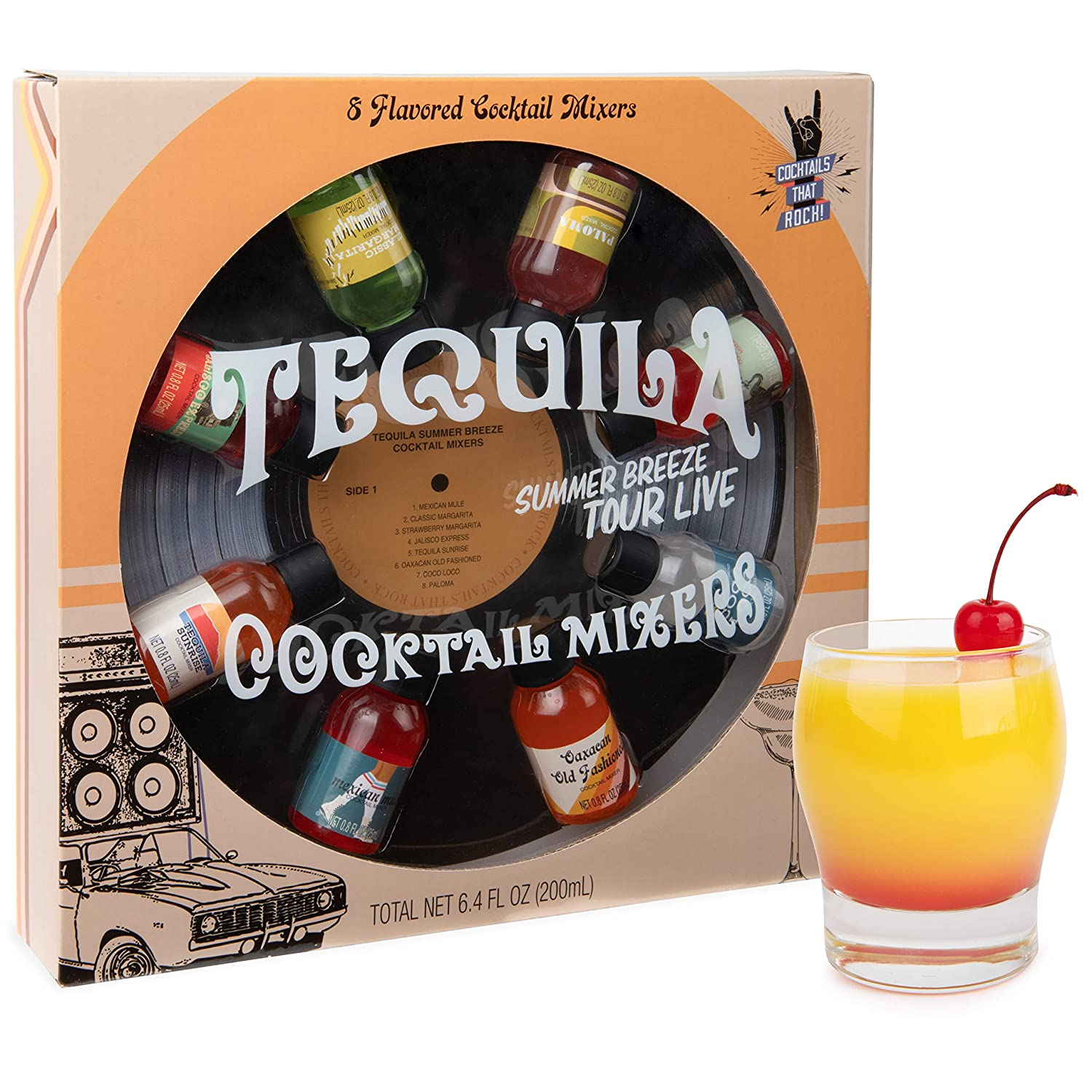 Thoughtfully Gifts, Greatest Hits Cocktail Mixers for Tequila Gift Set, Flavors Include Tequila Sunrise, Mexican Mule, Classic Margarita and More, Pack of 8 (Contains NO Alcohol)